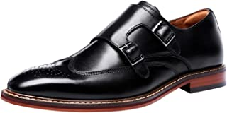 Mens Double Monk Shoes Leather Classic Buckle Strap Slip On Wingtip Brogue Formal Wedding Casual Dress Loafers Black Brown