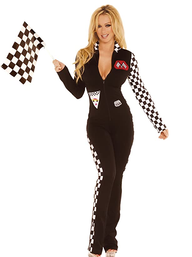 Hot Spot Sexy Women's Race Car Driver Jumpsuit Adult Roleplay Costume