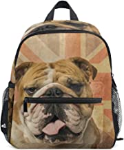 Linomo Vintage UK Flag Dog French Bulldog Kids Backpack Daypack Bookbag Preschool Toddler Backpacks Kindergarten Shoulder Bag for Boys Girls Child