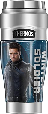 Marvel - The Falcon And The Winter Soldier Winter Soldier Blue Pose THERMOS STAINLESS KING Stainless Steel Travel Tumbler, Va