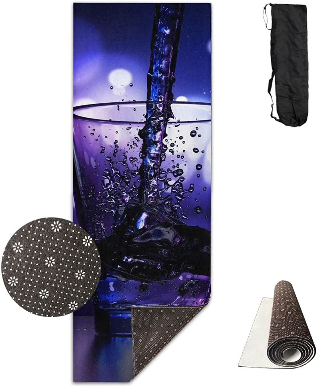Yoga Mat Non Slip 24  X 71  Exercise Mats Liquor Wine Glass Premium Fitness Pilates Carrying Strap