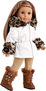 Winter Fun - 3 piece outfit - Ivory Parka with Leggings and Boots - 18 Inch Doll Clothes (doll not included)