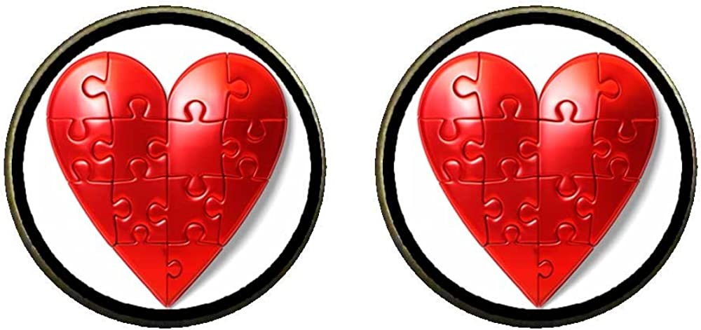 GiftJewelryShop Bronze Retro Style Autism is a heart Photo Clip On Earrings 14mm Diameter