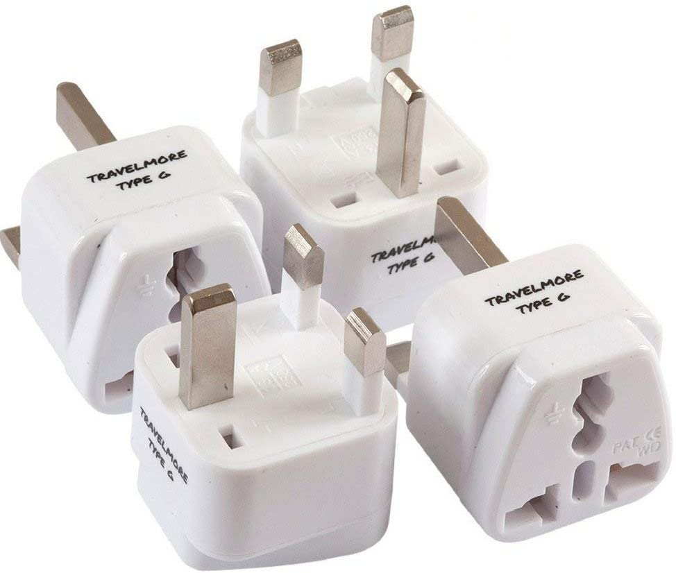 4 Pack UK Travel Adapter for Type G Plug - Works with Electrical Outlets in United Kingdom, Hong Kong, Ireland, Great Britain, Scotland, England, London, Dublin & More