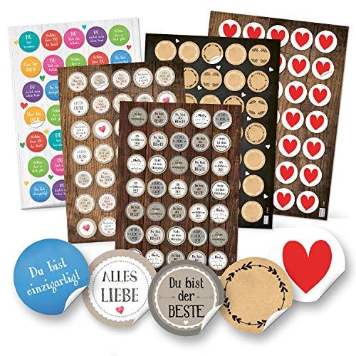 Logboek-uitgeverlag 5 x 35 stickers spreuken harten liefde sticker om op te plakken geschenken knutselen