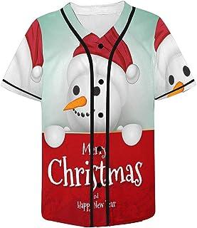 INTERESTPRINT Christmas Tree Winter Snowman Mens Baseball Jersey