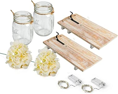 RBHK 2 Pack Mason Jar Sconces for Wall Decor with LED Fairy Lights, Decorative Chic Hanging House Decor Mason Jars, Silk Hydr