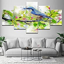 YHEGV Wall Feeling Arts 5 Panels In Prints On Canvas Hd Print Modern Art Room Decor Bird Painting Standing On The Branch Abstract Painting Modular Canvas Poster-A