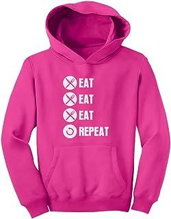 Tstars - 面白シャツ食べる食べる食べるの繰り返しシャツ 愉快なジョークシャツ 楽しいシャツ食べる食べるの繰り返し キッズパーカー