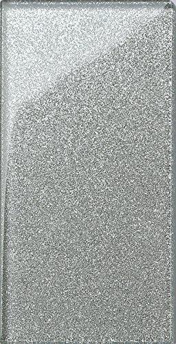 Glas Wand Fliese Silber mit Glitzer Fliese ist 7.5cm x 15cm. Die Stärke beträgt 6mm (MT0113)