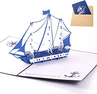 Handmade 3D Pop Up Cards - Blue Ship Handmade Pop Up Greeting Card for Your Loved Ones, Wedding Anniversary Card for Couple, Valentine Day, Happy Birthday Cards