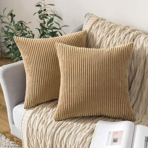 MIULEE Pack of 2 Corduroy Soft Solid Decorative Square Throw Pillow Covers Cushion Cases Pillow Cases for Couch Sofa Bedroom Car 22 x 22 Inch 55 x 55 cm, Khaki
