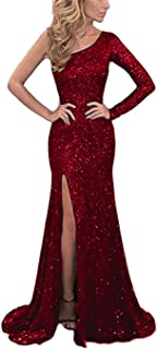 BEAUTBRIDE Women'S One Sequin Mermaid Evening Dress Long Sleeve Prom Gown