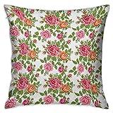 N\A Rosas Funda de Almohada Cuadrada Estilo de Bordado Flores gráficas con Hojas Verdes Anticuado Romántico Rosa Salmón Verde Fundas de Cojines Fundas de Almohada para sofá Dormitorio Coche