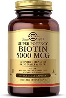 Solgar Biotin 5000 mcg, 50 Vegetable Capsules - Supports Healthy Skin, Nails & Hair - Non-GMO, Vegan, Gluten Free, Dairy F...