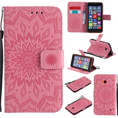 kelman Handyhülle für Nokia Lumia 640 (5.0') Hülle Schutzhülle 3D Sonnenblume PU Leder + Soft Silikon TPU Innere Schale Mode Prägung Brieftasche Flip - [Rosa]
