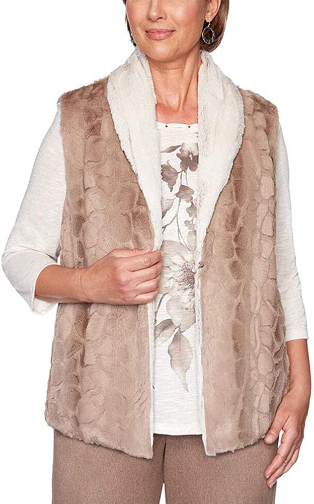 Alfred Dunner Women's shopping First Frost Vest outlet Fur Reversible