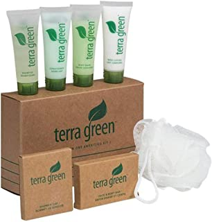 Terra Green Amenity Kit – Each kit includes 1 oz. travel size Shampoo, Conditioner, Body Wash, Body Lotion, Shower cap, Loofah and 1.5 oz. Bar Soap