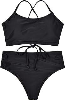 Women's Two Piece Swimsuit High Waisted Bikini Cheetah Print Leaf Knotted Bathing Suit Tankini Set