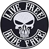 Parche de calavera Live Free-Ride Free, para motero, con im�