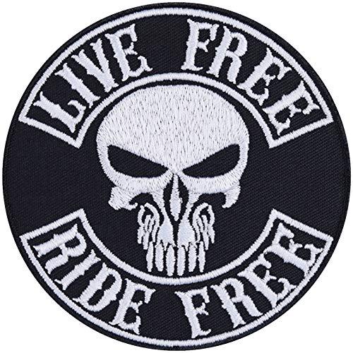 Parche de calavera Live Free-Ride Free, para motero, con imágenes termoadhesivas, de metal, para regalo, para moto, para chaquetas, chalecos, vaqueros, barcos, maletas, 90 x 90 mm