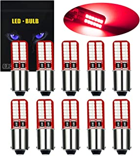 YEERON BA9S BA9 T4W 53 57 1895 64111 LED Bulbs 200LM Super Bright 24-SMD 3014 Chips LED Lamp for License Plate side door Interior Map Dome Parking City Dashboard Light,Red.(10-Pack)
