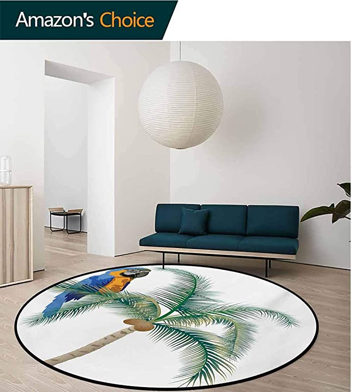 Parrot Modern Machine Washable Round Bath Mat Big Parrot Sitting On Coconut Tree Talkative Character Of Exotic Design Non Slip Living Room Soft Floor Mat Diameter 59 Inch Green White Blue Brown
