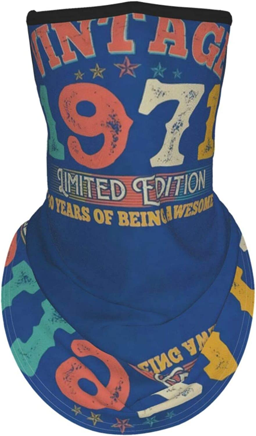 Ear Hangers Face Balaclava 50th Birthday Vintage Limited Edition 1971 Blue Protective Cover Wristband Bandanas Neck Gaiter Dust-Proof,Anti-Pungent Gas,Washable