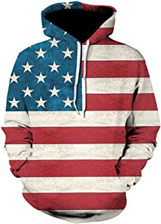 St.Dona Mens Bald Eagle Hoodie, Mens American Flag Print Pullover Sweatshirt Top Big