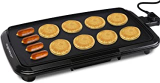 """Aigostar Varmo Nonstick Electric Griddles - Pancakes Griddle Grill with Drip Tray, 10"""" x 20"""" Family-Sized, Black"""