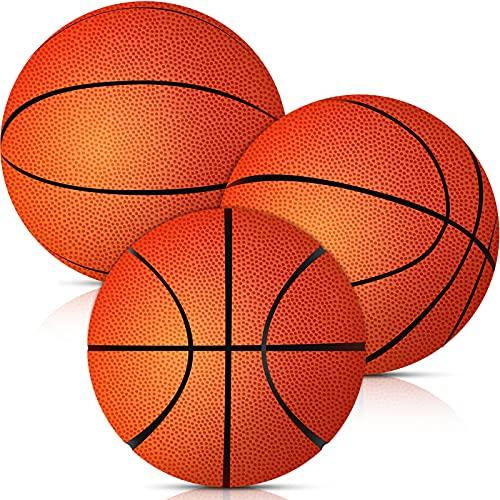 3 Mini Pelotas de Baloncesto de Espuma Naranja Balón de Baloncesto de Repuesto Set de Baloncesto de Trampolín Pequeño Baloncesto de Aro Suave Elástico Favor de Fiesta de Juego, 3,5 Pulgadas