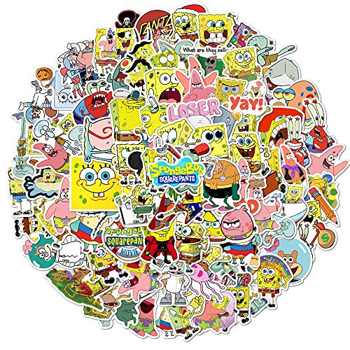 SHUYE Pegatinas animadas de Bob Esponja, Pegatinas de Dibujos Animados, Maleta, portátil, Caja de teléfono, Pegatinas, 100 Piezas