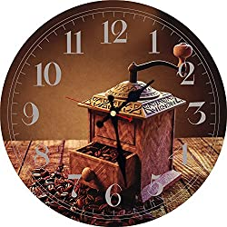 Meistar European Country Style 12 Inch Wooden Wall Clock for Living Room,Kitchen and Bedroom,Brown Coffee Mill Design Silent Non Ticking Wall Clocks