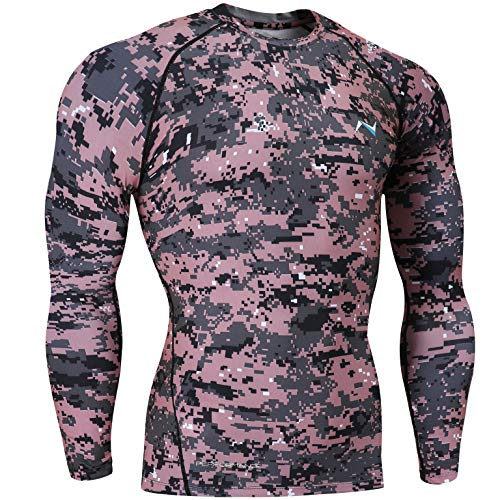 Nooz Men's Cool Dry Compression Baselayer Long Sleeve T Shirts - Pink Camo, Medium