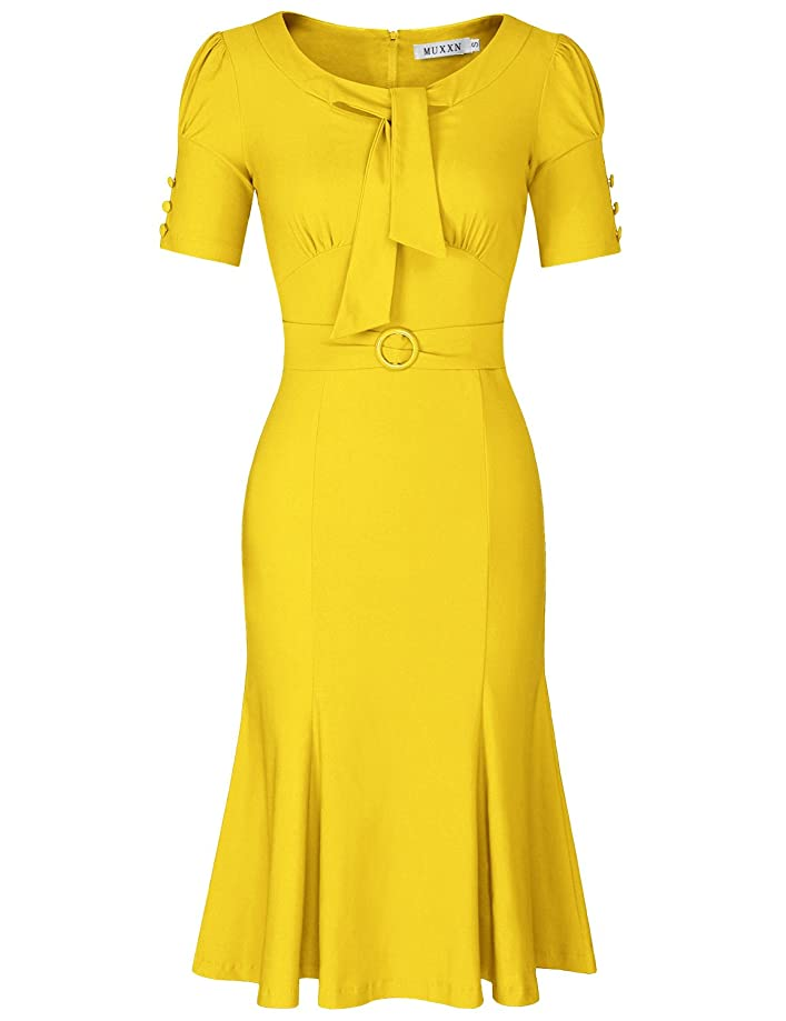 MUXXN Women's Retro 1950s Style Short Sleeve Formal Mermaid Dress