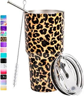Comli 30oz Tumbler Stainless Steel Double Wall Vacuum Insulated Travel Mug With Lid and Straw, Cleaning Brush (Leopard)