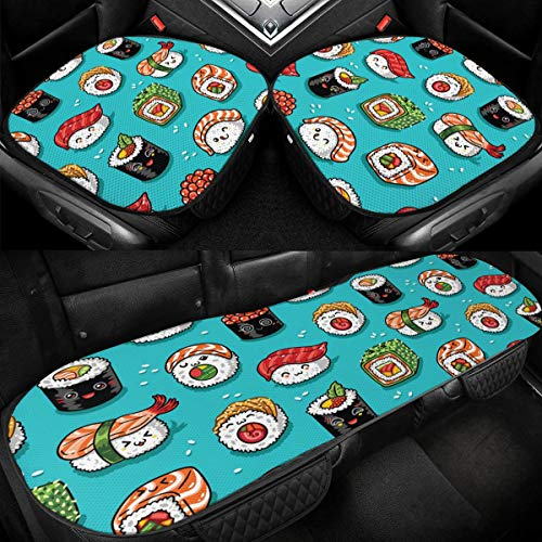 MINIOZE Kawaii Sushi and Sashimi Foot Teal Car Ice Seat Cover Cushion Summer Cooling Auto Pad Mat Protector Accessories Vehicle Ornament Interior Decorations for Women Men