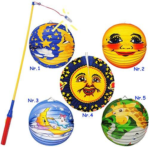 alles-meine.de GmbH 2 TLG. Set: Laterne / Lampion + LED Laternenstab -  Mond & Sterne - kuscheln  - aus Papier - RUND - für Kinder Papierlaterne - Laternen Lampions - Figuren -..