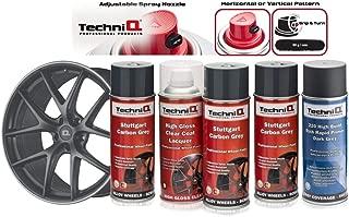 TechniQ Stuttgart - Kit de Pintura para Llantas de aleación de Carbono, 3 latas + 1 Bote de Pintura Transparente Brillante + imprimación de Grabado, Color Gris Oscuro