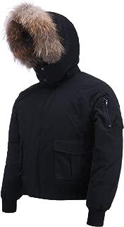 Arctic Men's Winter Jacket,down Coat with Fur Lined Hood Black