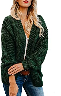 Meilidress Womens Plus Size Cardigan Sweaters Winter Chunky Open Front Cable Knit Warm Outwear Coats