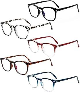 5 Pack Computer Reading Glasses Men Women Spring Hinges...