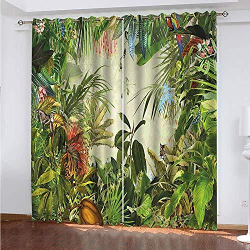 WLHRJ Cortina Opaca en Cocina el Salon dormitorios habitación Infantil 3D Impresión Digital Ojales Cortinas termica - 183x214 cm - Plantas del Bosque Tropical