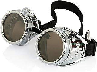 PIXNOR samfme Steampunk Cyber Punk gótico soldadura gafas (plata)