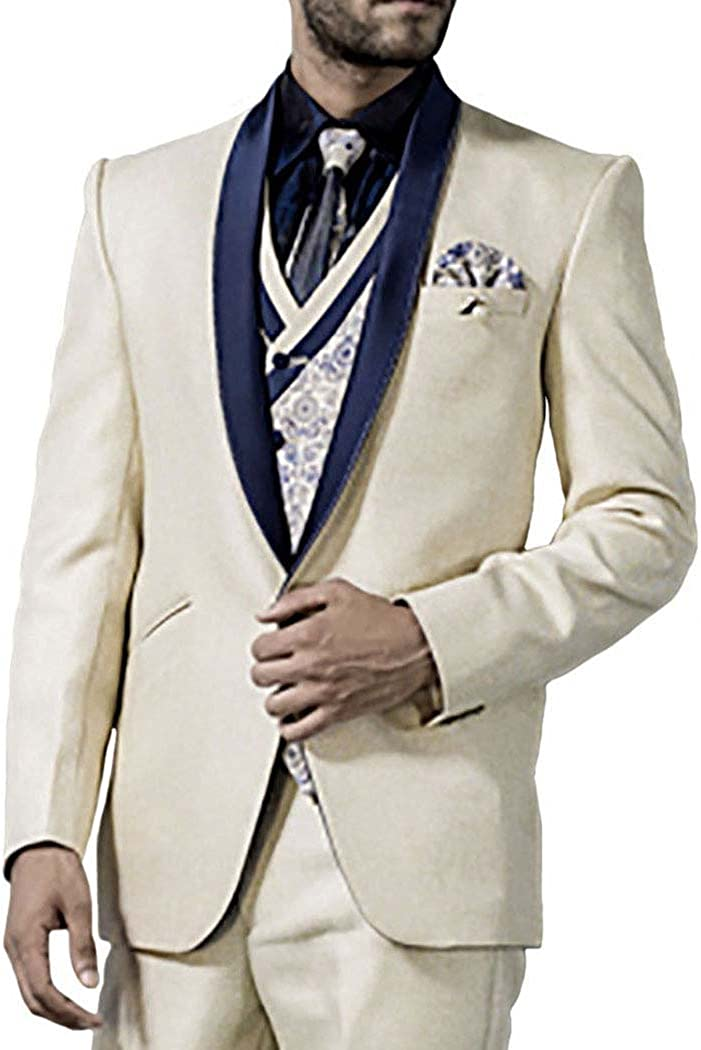 INMONARCH Mens Cream 7 Pc Tuxedo Suit Shawl Lapel One Button TX1010