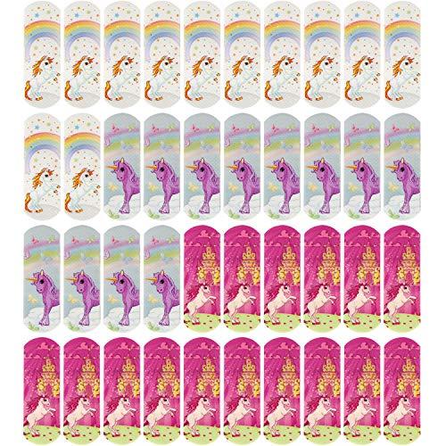com-four® 40x Kinderpflaster wasserabweisend - Bunte Pflaster-Strips für Kinder - Pflaster-Set mit Einhorn-Motiven - klinisch getestet