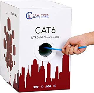 CAT6 Plenum (CMP) 1000ft Bulk Ethernet Cable | Certified 100% Pure Solid Bare Copper | 550MHz, 23AWG, UTP | Blue, White, Green, Red & Yellow | Fluke Tested | High Bandwidth & Stable Performance - Blue