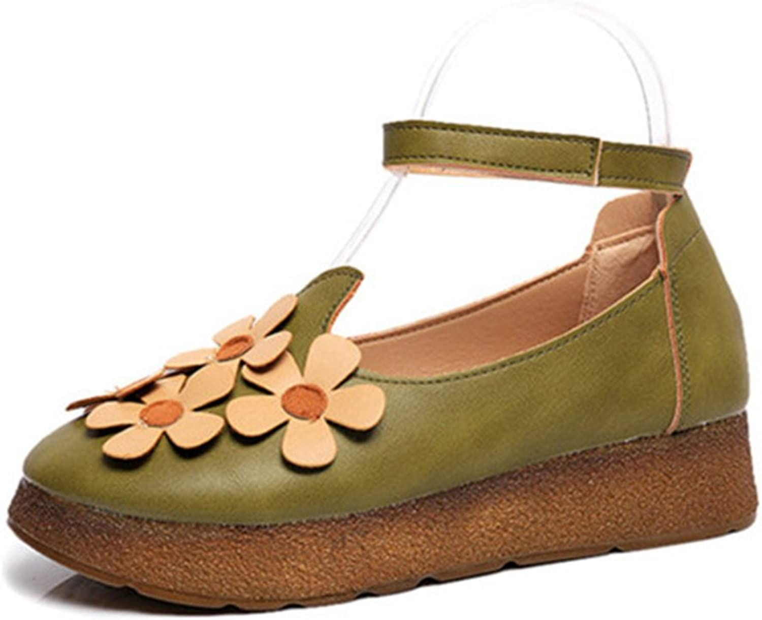 Huhuj shoes Joker thick-soled shoes in the fall sweet flowers students ' shoes Comfort flat womens shoes