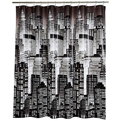 Amazon Basics – PEVA-Duschvorhang mittelschwer, Stadt, 183 x 183 cm