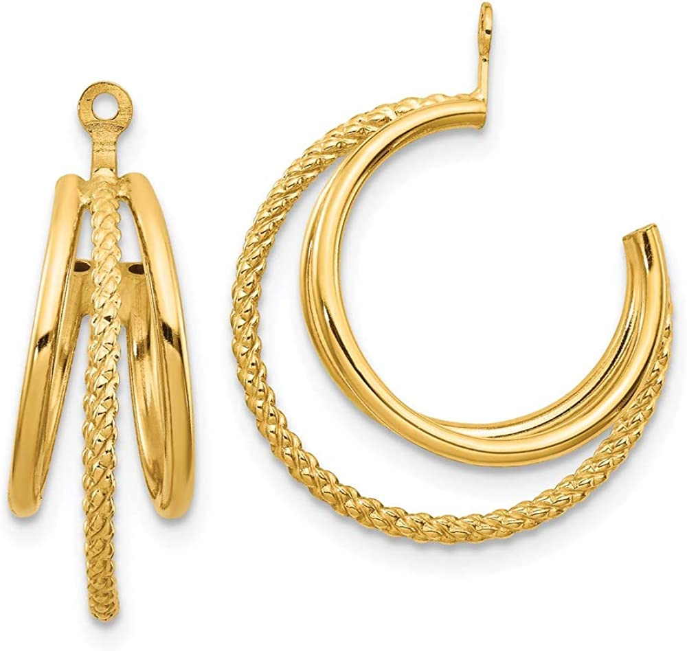 14k Yellow Gold and Twisted Triple Hoop Earring Jackets